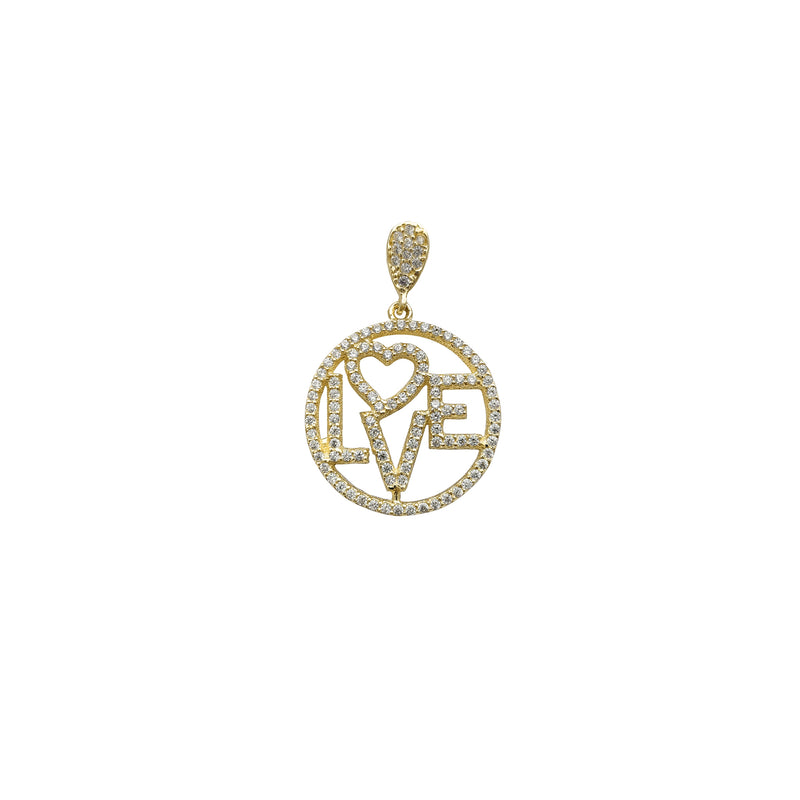 Zirconia Outline Love Round Medallion Pendant (14K) Popular Jewelry New York