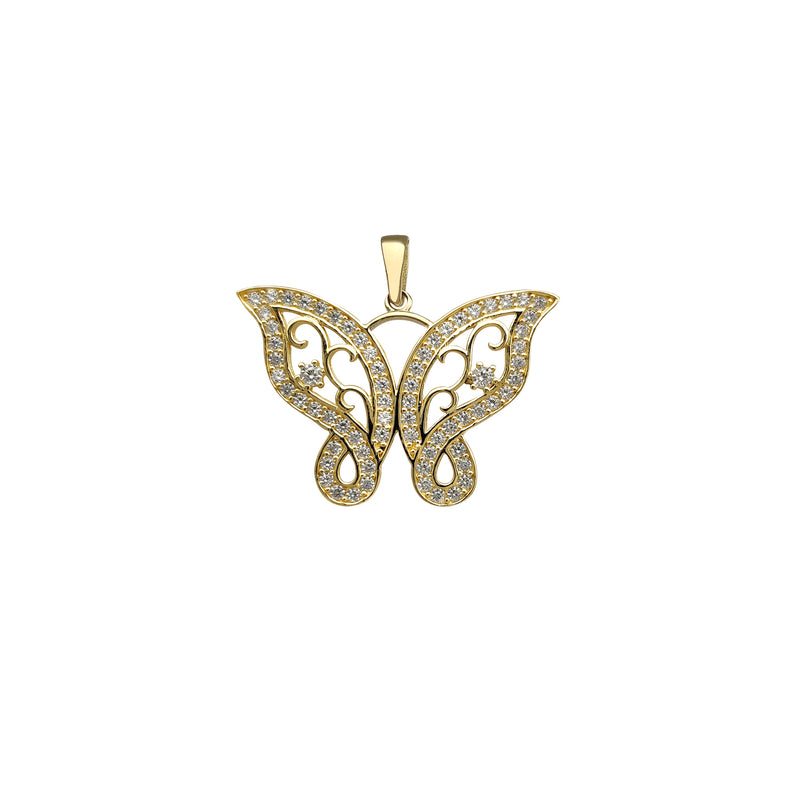 Zirconia Outlined Vines Butterfly Pendant (14K) Popular Jewelry New York