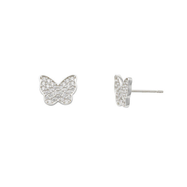 Zirconia Pave Butterfly Stud Earrings (14K) Popular Jewelry New York