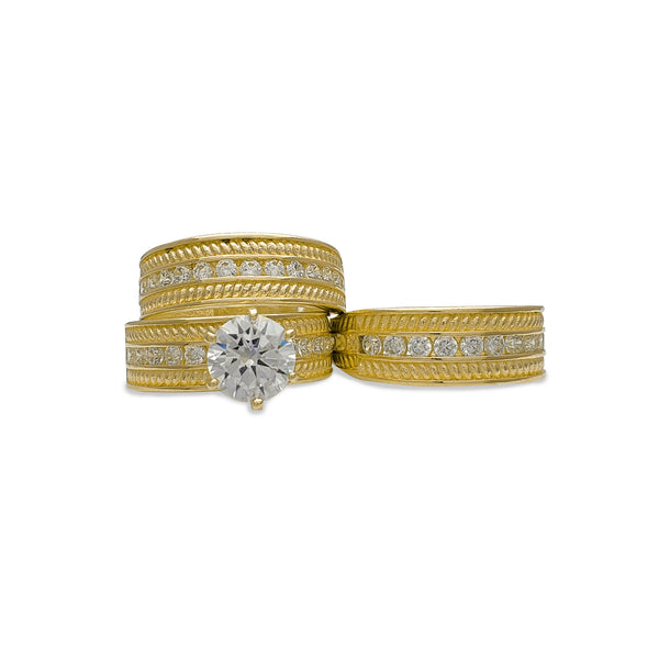 Zirconia Rope Textured Three-Piece-Set Rings (14K) Popular Jewelry New York