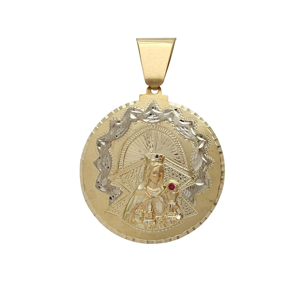 Zirconia Saint Barbara Medallion Pendant (14K) Popular Jewelry New York