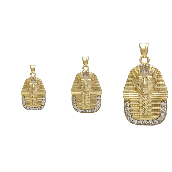 Zirconia Textured Pharaoh Head Pendant (14K)
