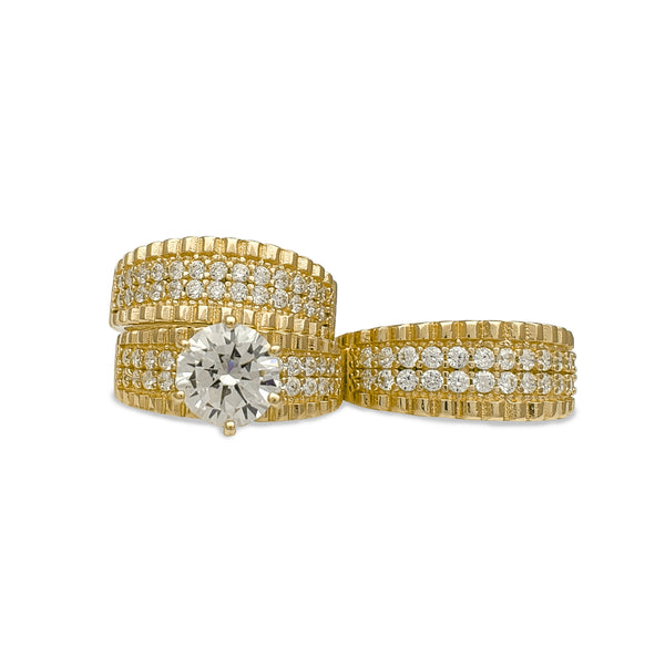 Zirconia Two-Row Ridged Three-Piece Set Ring (14K) Popular Jewelry New York