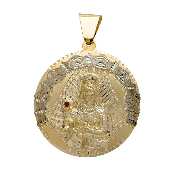 Zirconia Two-Tone Saint Barbara Medallion Pendant (14K) Popular Jewelry New York