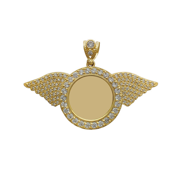 Zirconia Winged Picture Medallion Pendant (14K) Popular Jewelry New York