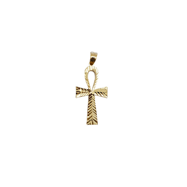 Diamond-Cut Ankh Pendant (14K)