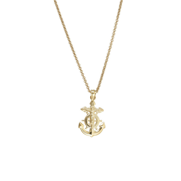Yellow Gold Nautical Cross Wheel & Anchor Fancy Necklace (14K)
