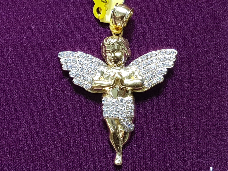 Iced-Out Pag-ampo sa Baby Angel Pendant 10K - Popular Jewelry