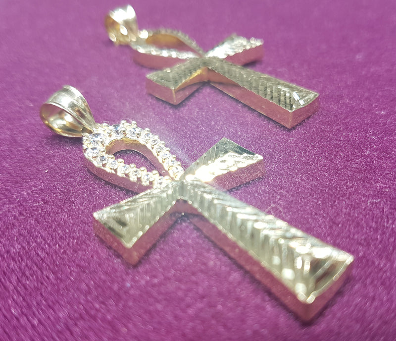 Diamond-Cut Ankh Pendant 10K - Lucky Diamond 恆福珠寶金行 New York City 169 Canal Street 10013 Jewelry store Playboi Charlie Chinatown @luckydiamondny 2124311180