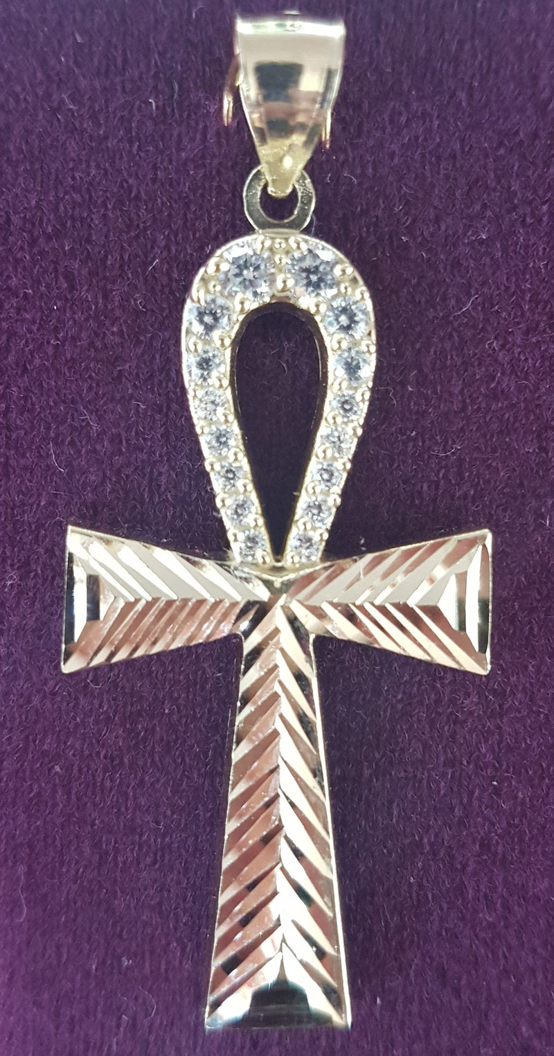 Diamond-Cut Ankh Hengiskraut 10K (ís) - Popular Jewelry