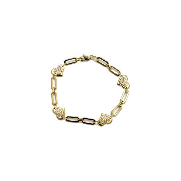 Paper Clip Style with Heart Bracelet (14K)