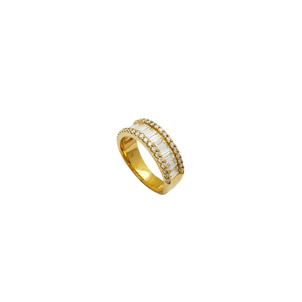 Baguette & Round Diamond Wedding Ring (14K)
