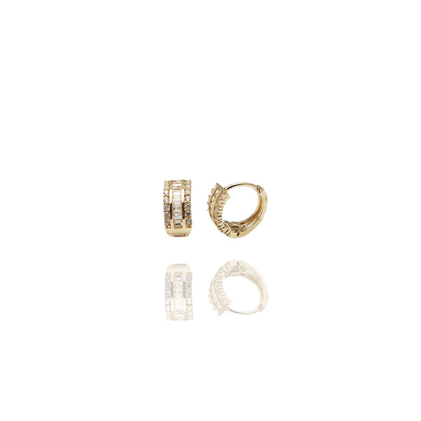 Baguette CZ Huggie Earrings (14K)