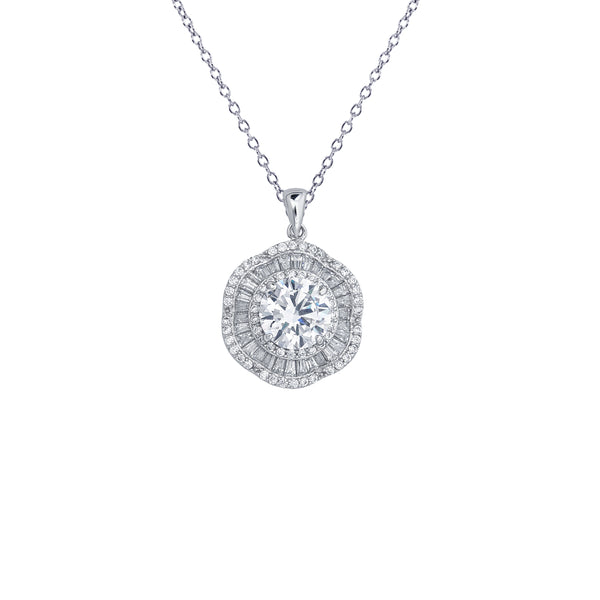 Baguette Cz Flower Necklace (Silver)