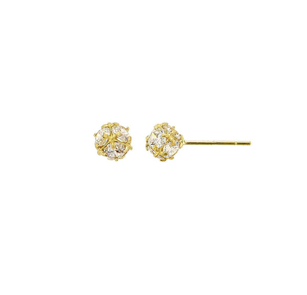 Crystal Gold Ball Stud Earrings (14K)