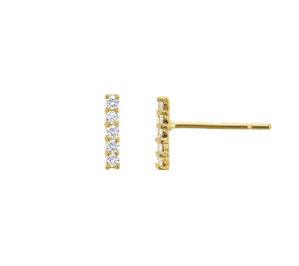 14K Yellow Gold Pave 5-Stone Liner Stud Earrings (14K)