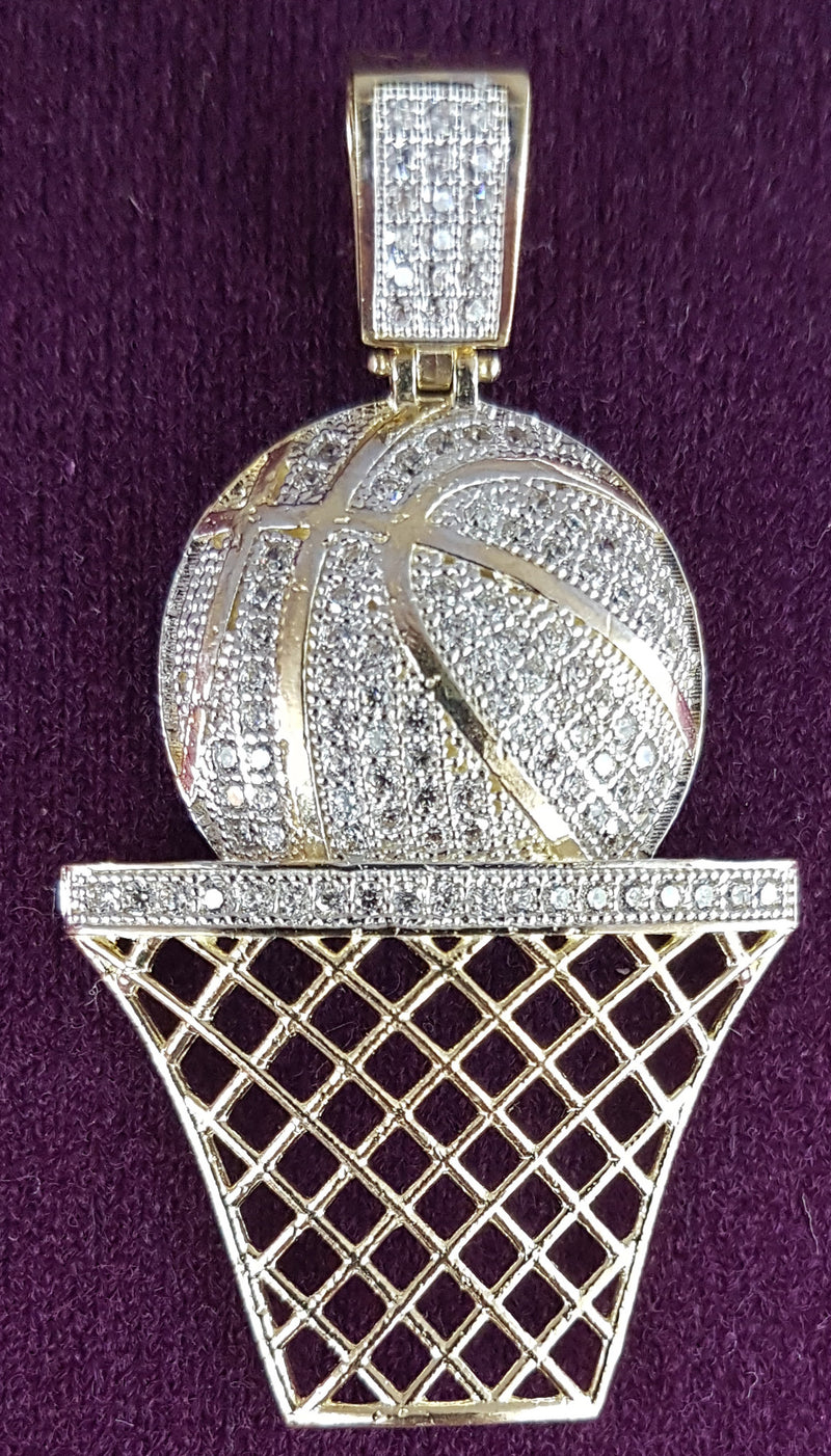 Iced-Out Basketball & Hoop Pendant 10K - Lucky Diamond 恆福珠寶金行 New York City 169 Canal Street 10013 Jewelry store Playboi Charlie Chinatown @luckydiamondny 2124311180