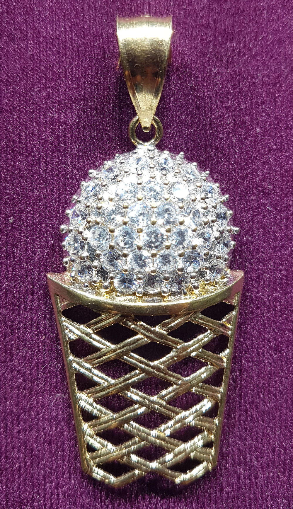 Iced-Out Ball & Hoop Pendant 10K - Popular Jewelry