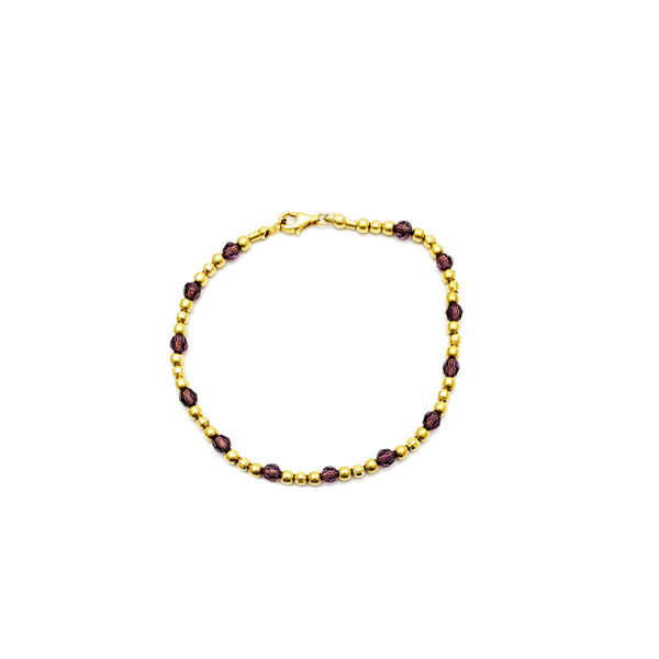 Beads with Purple CZ Stone Bracelet (14K)