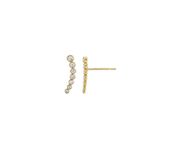 5-Stones Bezel Curves Bar Earrings (14K)
