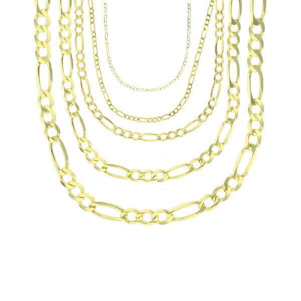 Yellow Gold Solid Figaro Chain (14K)