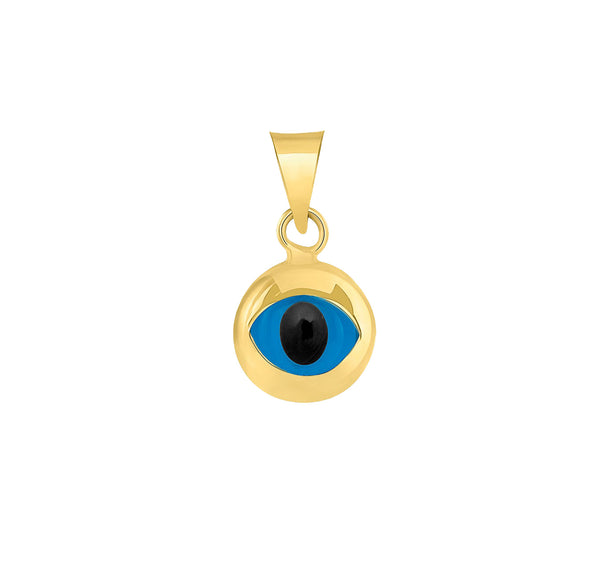 Yellow Gold Mini Round Shaped Evil Eye Pendant (14K)
