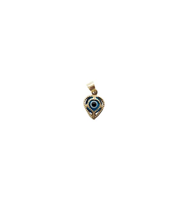 Yellow Gold Heart Shape Evil Eye Pendant (14K))