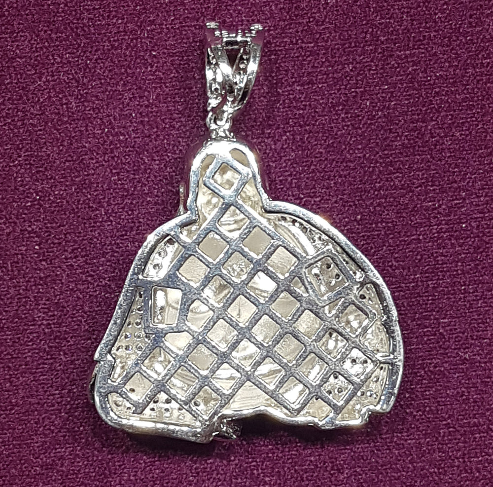 Iced-Out Buddha Pendant Silver