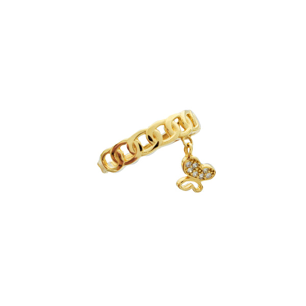 Thin Cuban Link with Dangling Butterfly Ring (14K)