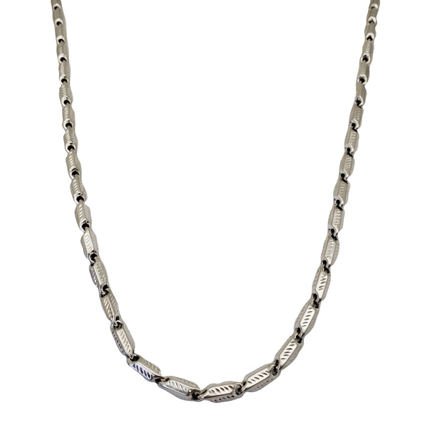 White Cut Bullet Chain (14K)