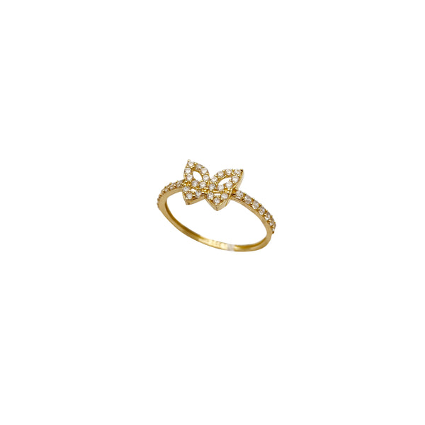 Iced-Out CZ Butterfly Ring (14K)