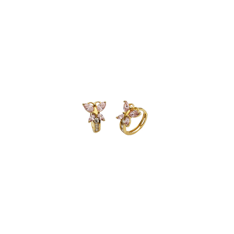 Yellow Gold CZ Butterfly Huggie Earring (14K)