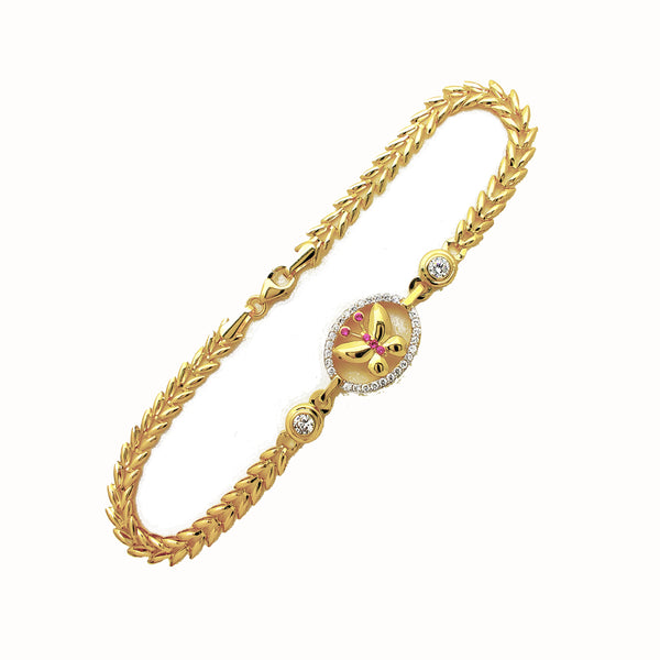 Yellow Gold CZ Butterfly Fancy Bracelet (14K)