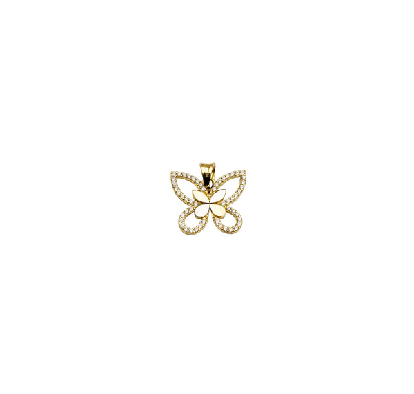 Yellow Gold CZ Open Burtterfly Pendant (14K)