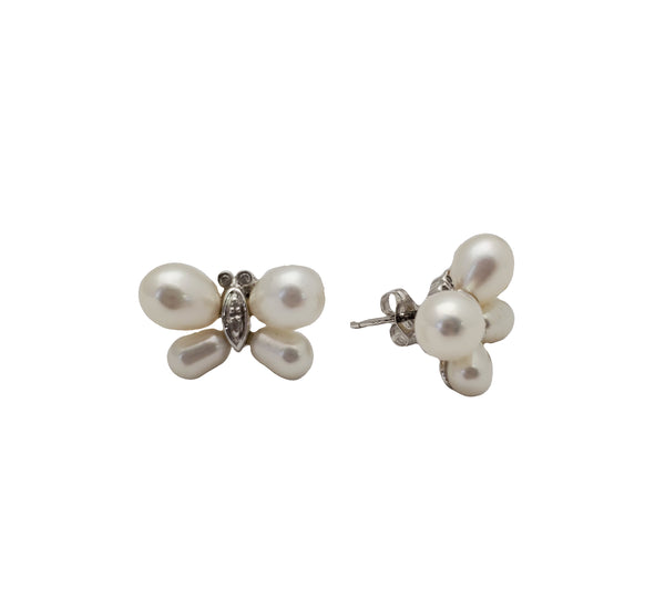 Pearl Butterfly Stud Earrings (14K)