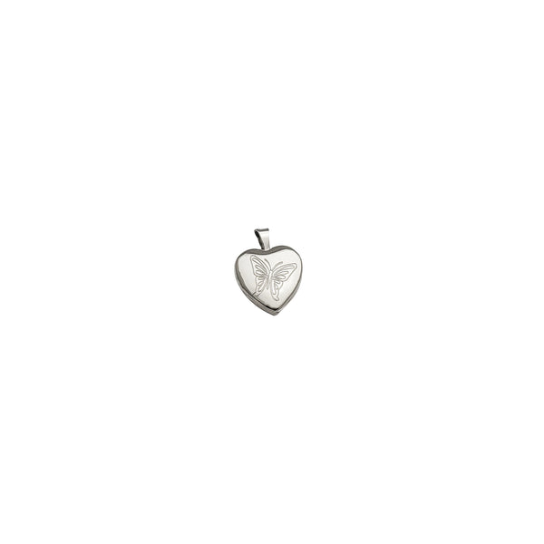 Heart Lock with Butterfly Engraved Pendant (Silver)