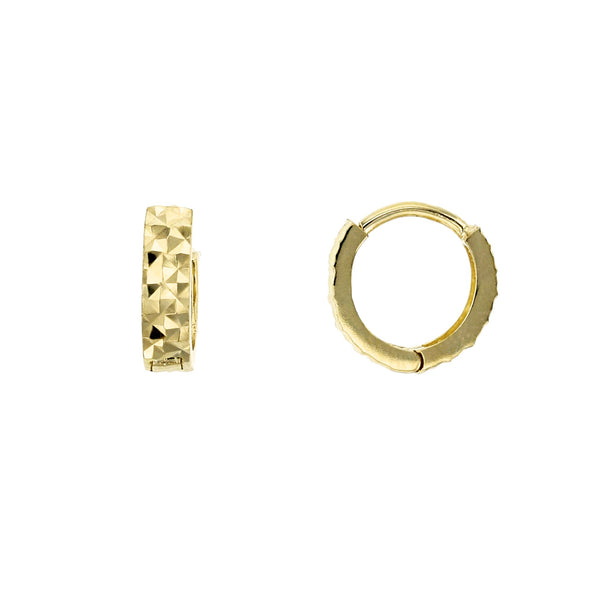 Reversible Faceted Cut Huggie Earrings (14K) Popular Jewelry New York
