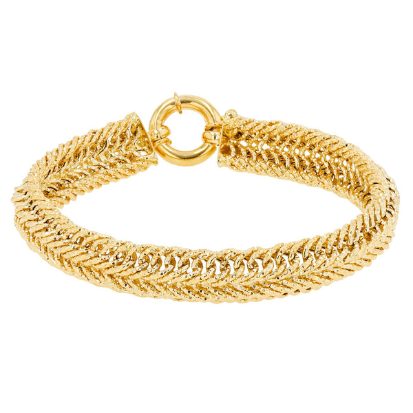 Hollow Puffy Herringbone Bracelet (14K)