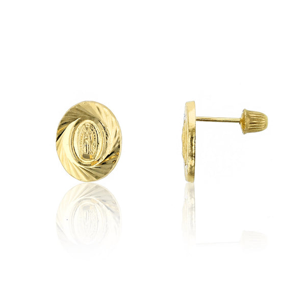 Spiral Diamond-Cuts Virgin Mary Stud Earrings (14K) Popular Jewelry New York
