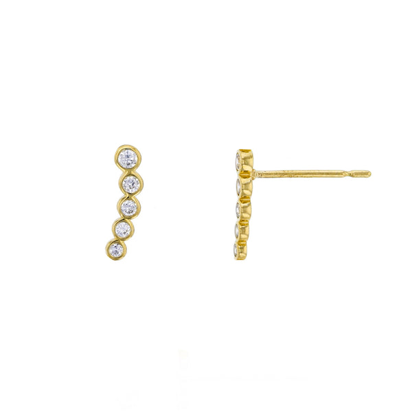 Zirconia 5-Bezel Graduated Stud Earrings (14K) Popular Jewelry New York