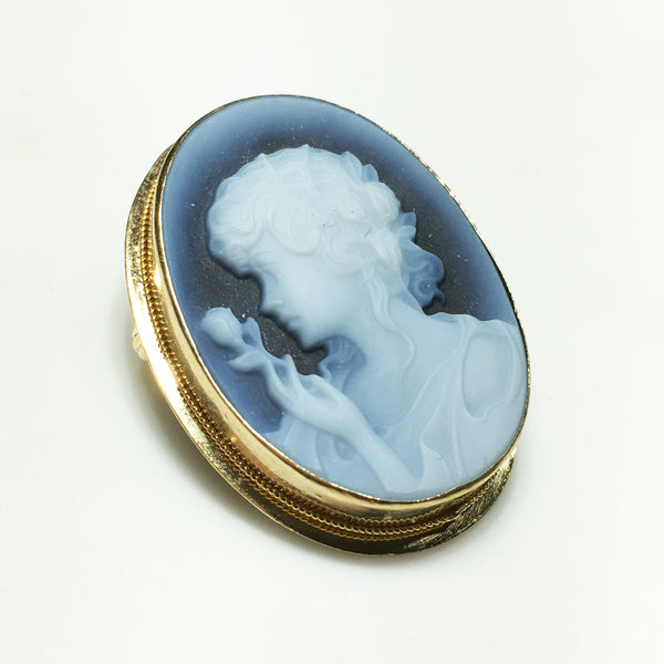 blue agate lady rose cameo brooch pendant 14k