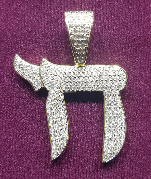 Iced-Out Chai Symbol Pendant Siliva - Popular Jewelry