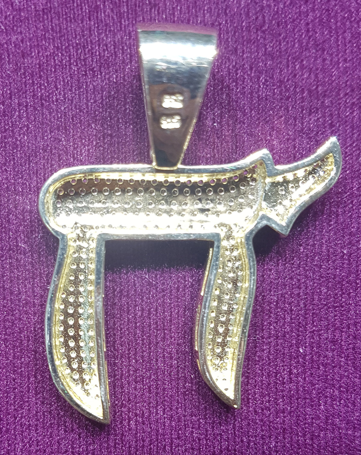 Iced Out Chai Symbol Pendant Silver Popular Jewelry