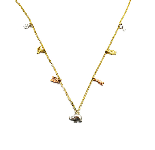 Tricolor Charm Necklace (14K)