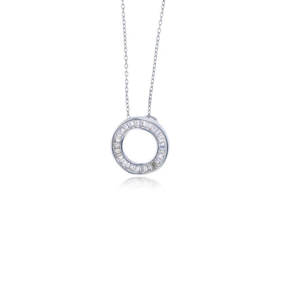 Baguette Cz Open Circle Necklace (Silver)