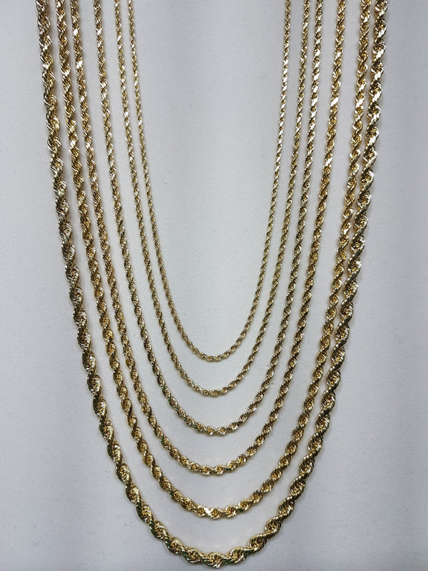 Light Weight / Hollow Rope Chain 14K