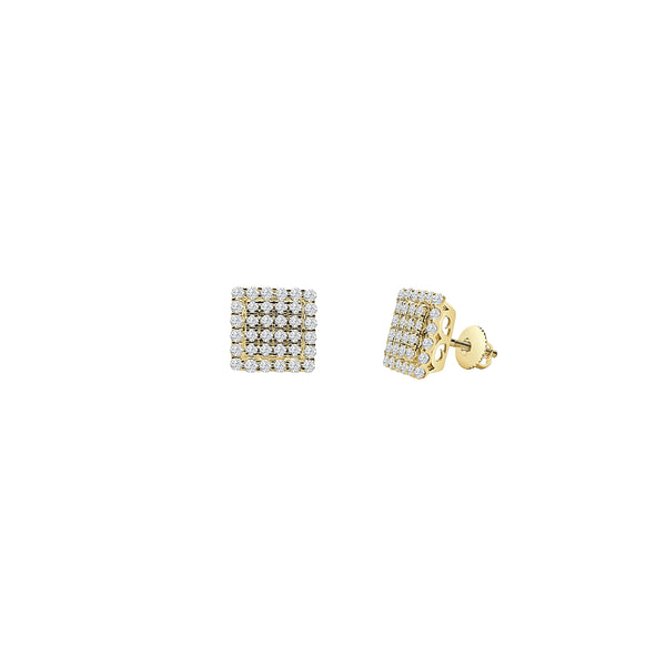 Diamond Cluster Cube Earrings (14K)