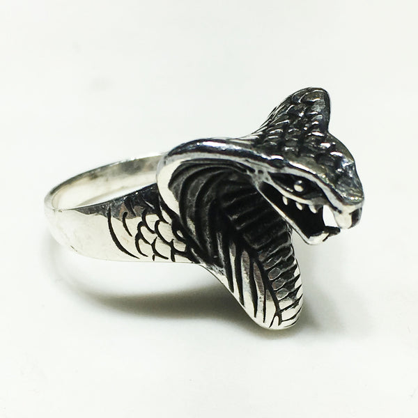 Antique-Finish Cobra Head Ring (Silver) - Popular Jewelry