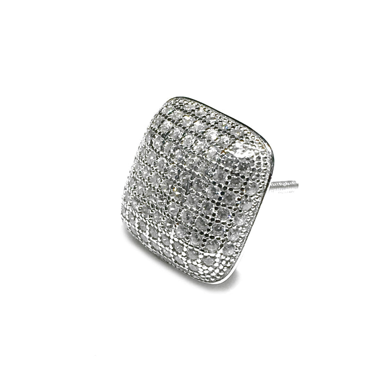 Iced-Out Convex Square Stud Earring (Silver)