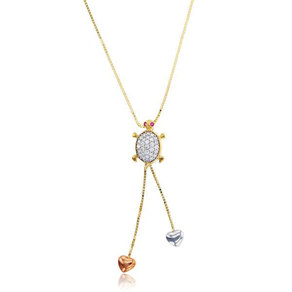 Turtle & Trailing Hearts Necklace (14K)